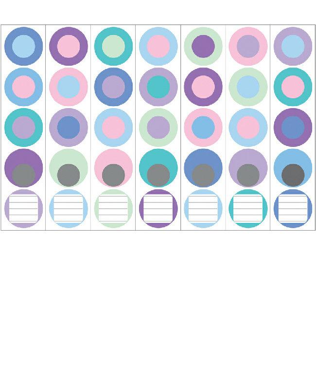 Ordneretiketten Blauwe cirkels