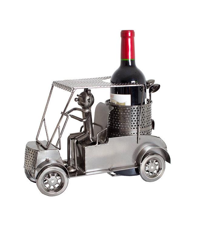 Wijnfleshouder Golfer in Golfkar