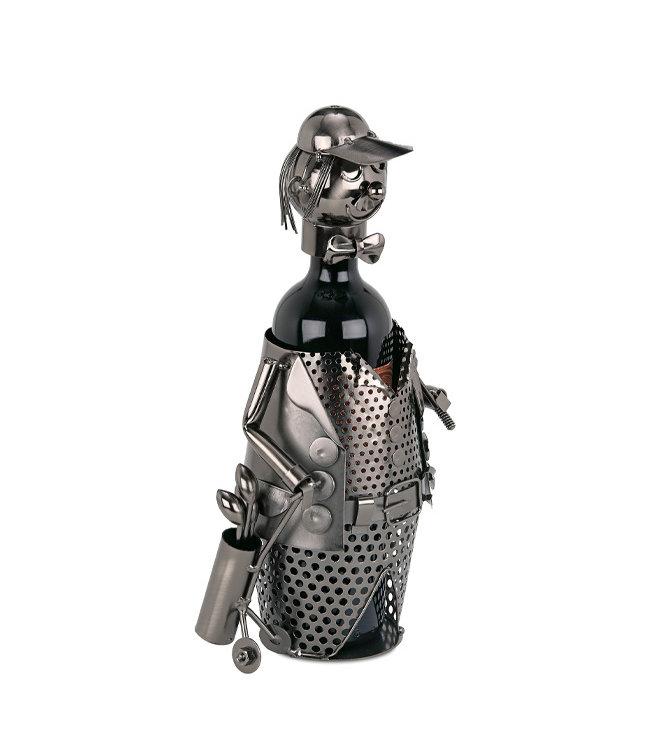 Wijnfleshouder Golfer met Trolley