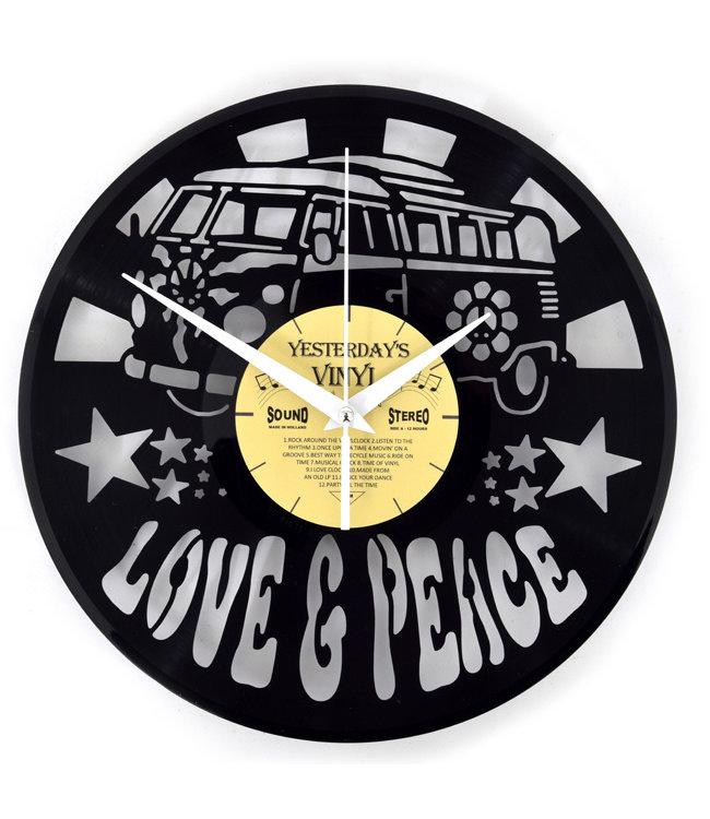 Wandklok Vinyl Love and Peace