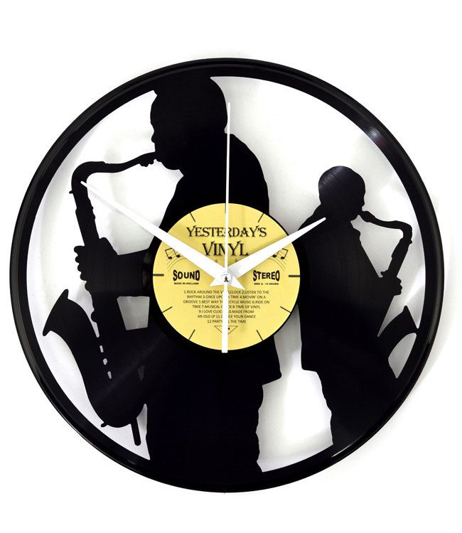 Wandklok Vinyl Saxofonisten