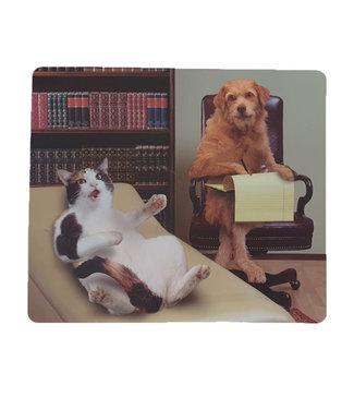 Muismat Kat bij Hond psychiater