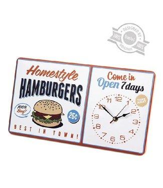 Vintage wandklok Homestyle Hamburgers