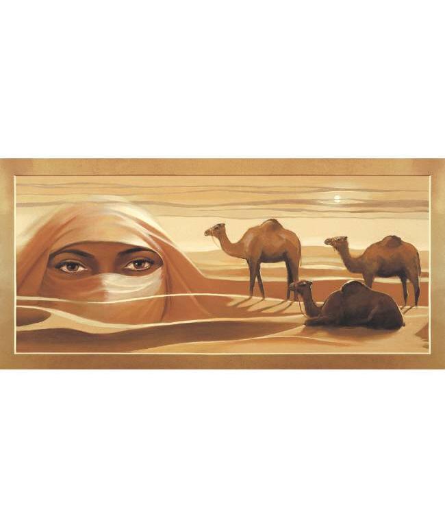 Kunstzinnige Ingelijste Posters: Kamelen en mysterieuze ogen