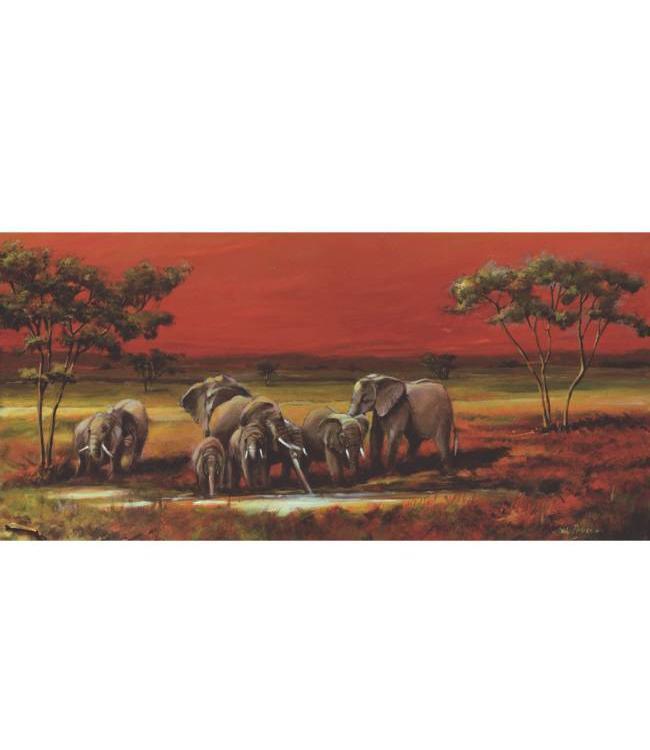 Kunstzinnige Ingelijste Posters: Olifanten op de Savanne