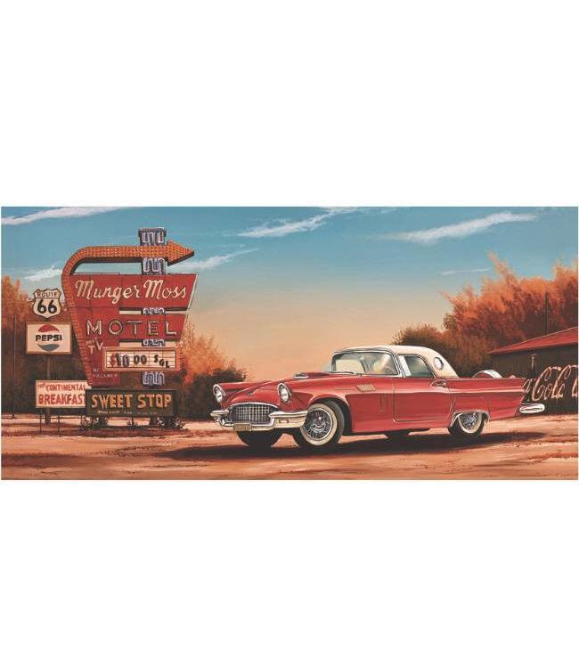 Kunstzinnige Ingelijste Posters: Route 66 Motel Red Car