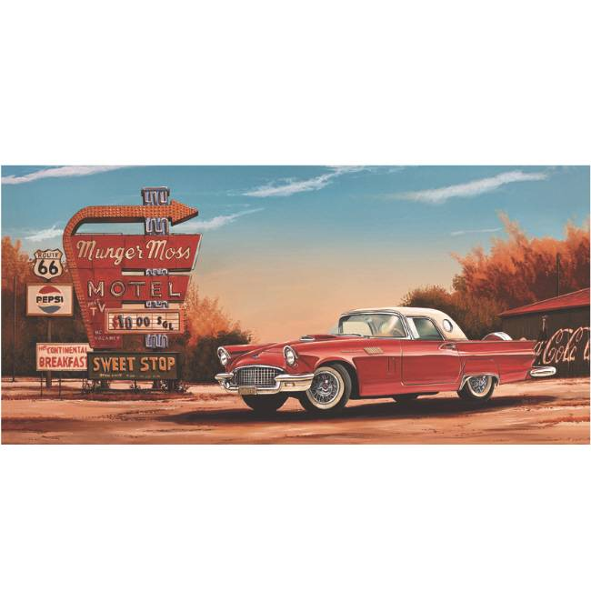 Kunstzinnige Ingelijste Posters: Route 66 Motel Red Car