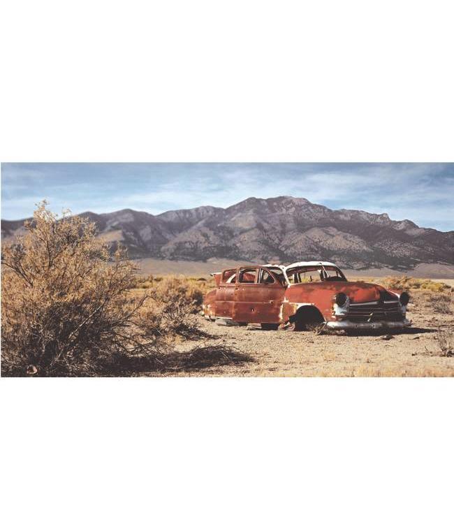 Ingelijste Posters: Route 66 Verlaten autowrak in woestijn