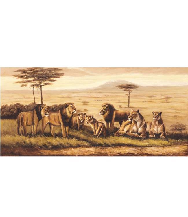 Kunstzinnige Ingelijste Posters: Leeuwen op de Savanne