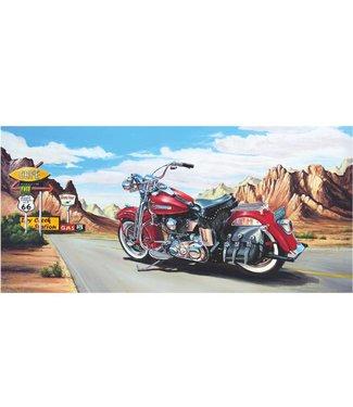 Ingelijste Posters: Route 66 Motor Harley Davidson rood
