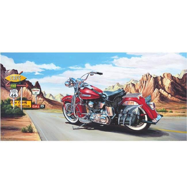 Kunstzinnige Ingelijste Posters: Route 66 Motor Harley Davidson rood
