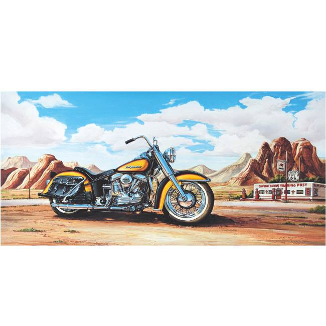 Kunstzinnige Ingelijste Posters: Route 66 Motor Harley Davidson geel