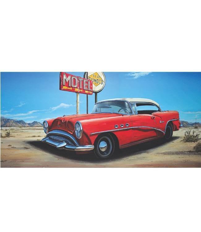 Ingelijste Posters: Route 66 Motel Rode auto