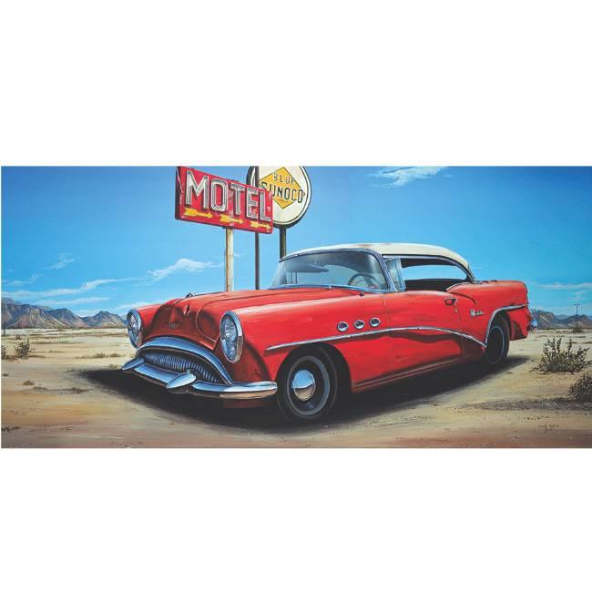 Kunstzinnige Ingelijste Posters: Route 66 Motel Rode auto