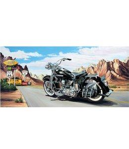 Ingelijste Posters: Route 66 Zwarte Harley Davidson