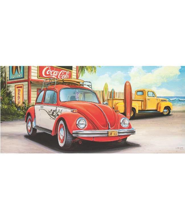 Kunstzinnige Ingelijste Posters: Volkswagen Kever Surfen
