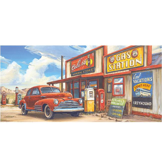 Kunstzinnige Ingelijste Posters: Route 66 Gas Station Museum