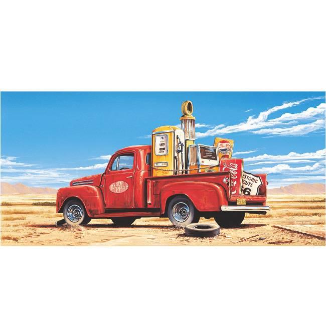 Kunstzinnige Ingelijste Posters: Route 66 Pickup truck in de woestijn