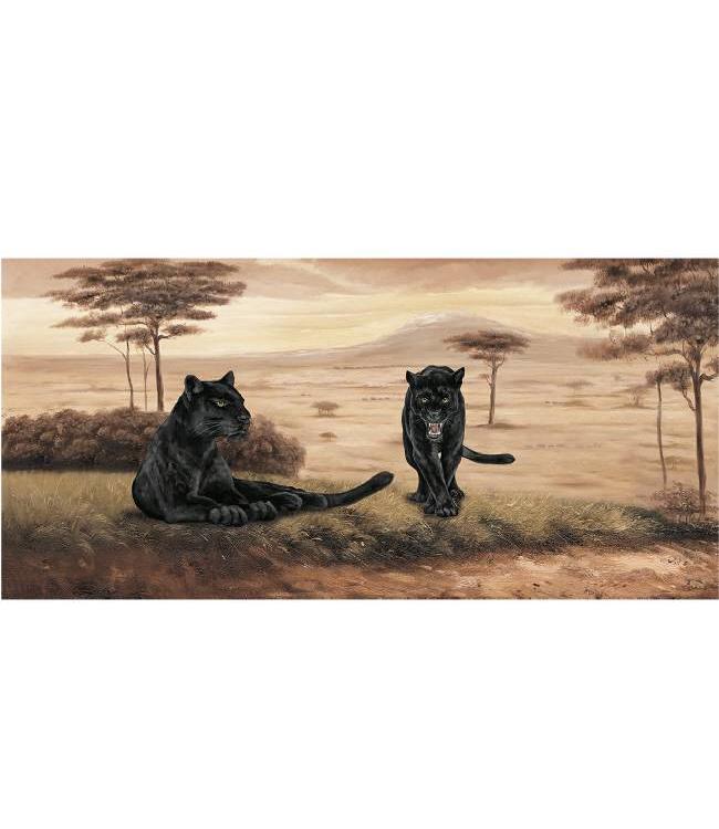 Kunstzinnige Ingelijste Posters: Twee Zwarte Jaguars