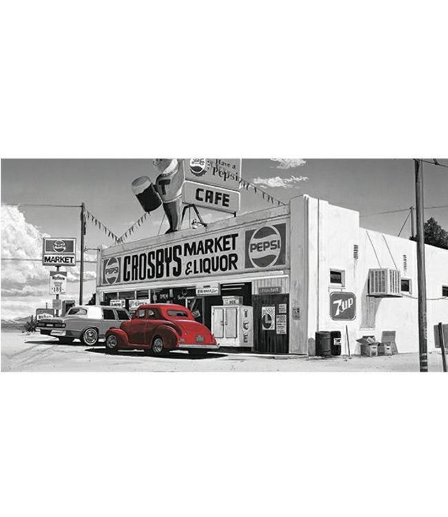 Kunstzinnige Ingelijste Posters: Route 66 Crosby´s Market