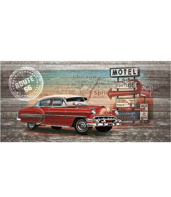 Ingelijste Posters: Route 66 Red Car on wood