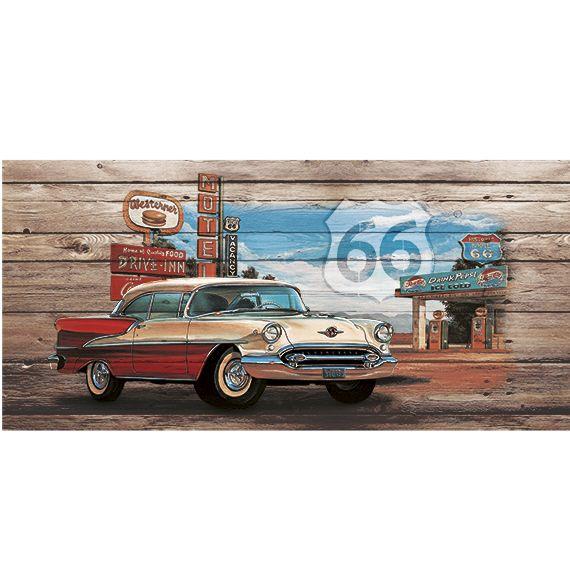 Kunstzinnige Ingelijste Posters: Route 66 Red White Car on wood