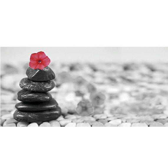 Kunstzinnige Ingelijste Posters: Zen Rode bloem op stenen