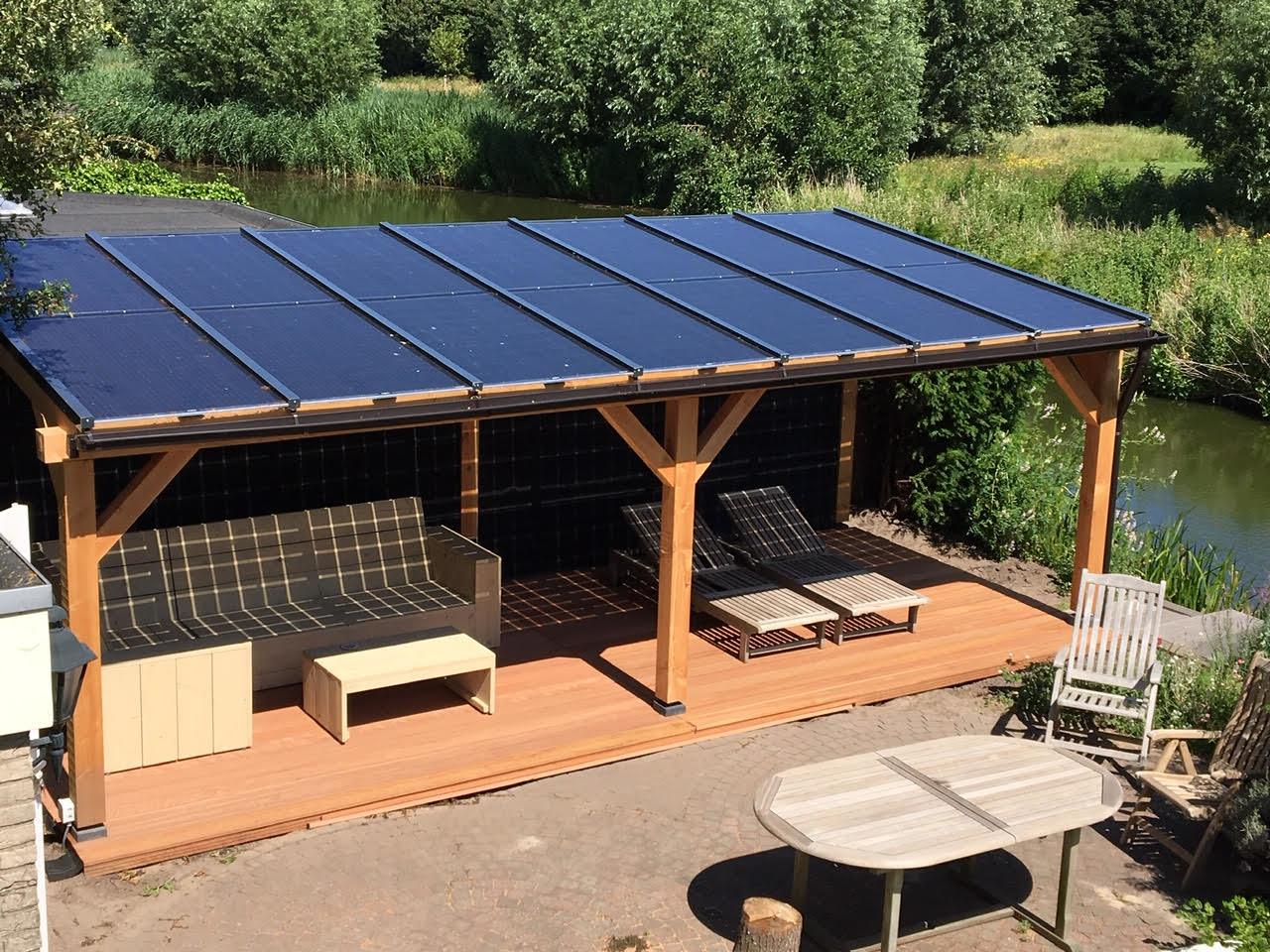 Lariks / Douglas zonnepanelen veranda 7 x 3,4 meter