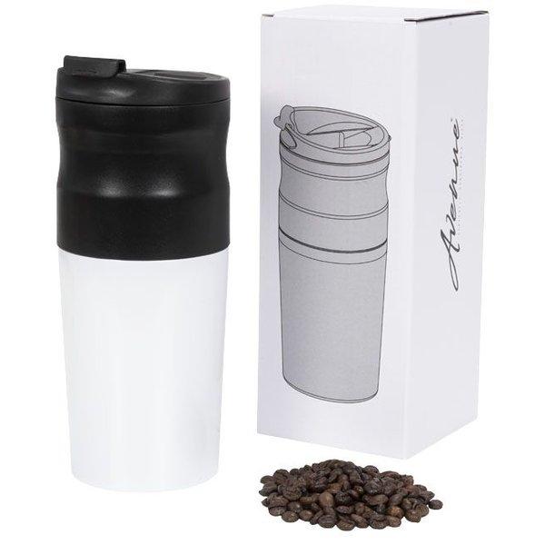 Alles in een draagbaar elektrisch koffiezetapparaat, wit