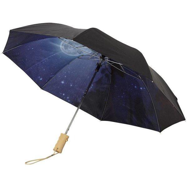 "21"" 2 sectie opvouwbare automatische paraplu met heldere nacht, zwart"