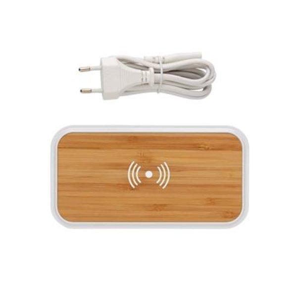 Bamboe 5W draadloze oplader met 3 USB-poorten