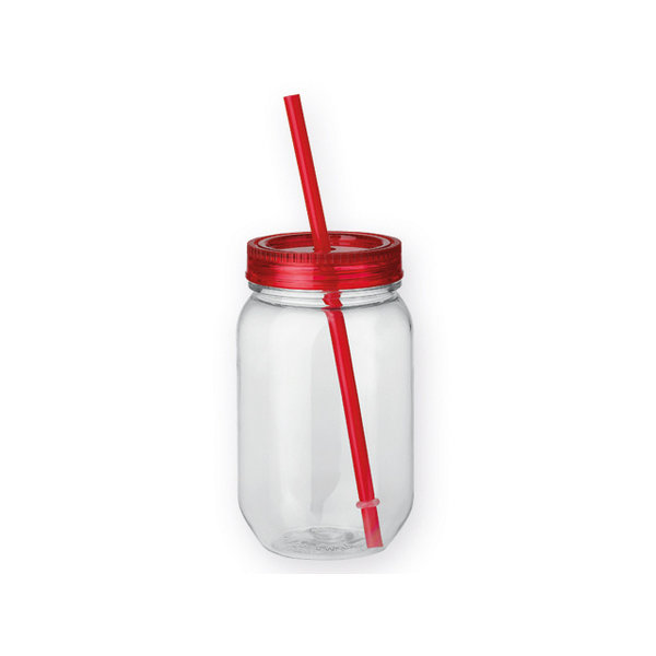 Straw kunststof fles met rietje