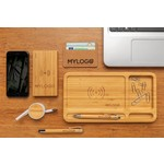 Bamboo desk organizer 5W wireless charger, brown