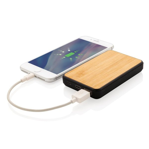 Bamboe 5000 mAh zakformaat fashion powerbank