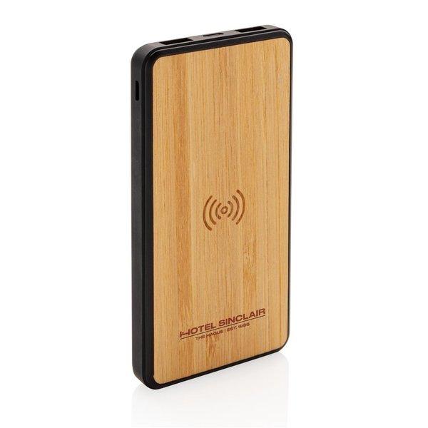 Bamboe 8000 mAh fashion powerbank met draadloze oplader