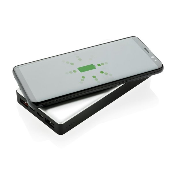 10.000 mAh Powerbank with PD and Wireless charger, silver