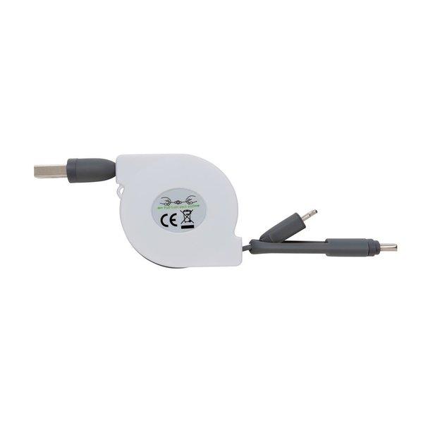 3-in-1 kabel met rolmechanisme, wit