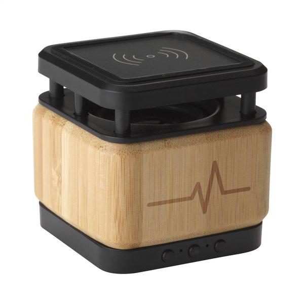 Bamboo Block Speaker met draadloze oplader