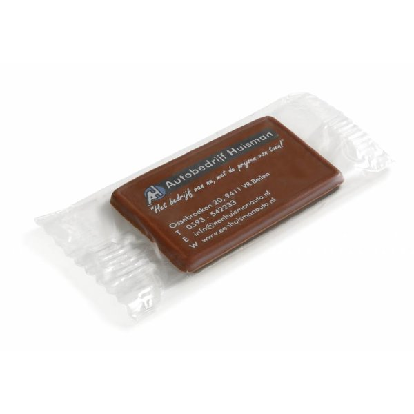 Bedrukte chocolade in flowpack