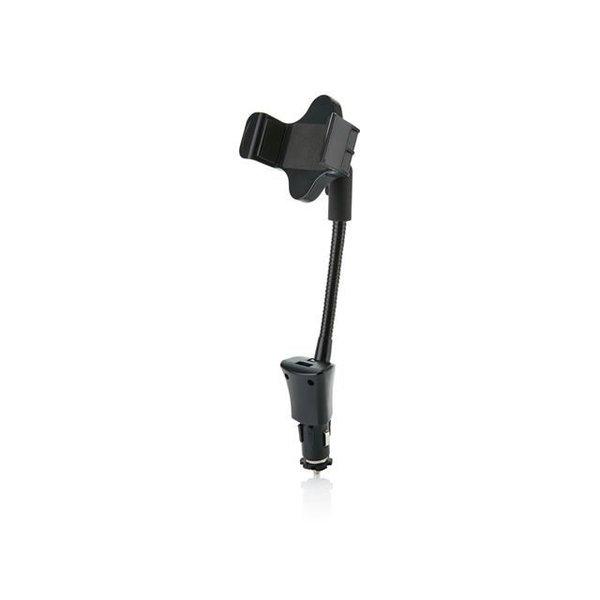 Auto USB oplader met telefoonhouder, zwart