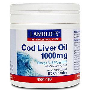 Lamberts Cod Liver Oil (Levertraan) 1000 mg 180 capsules