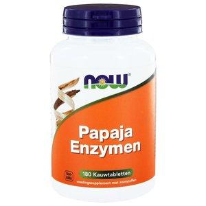 NOW Papaya enzymen 180 kauwtabletten