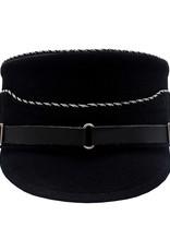 Schaftmütze schwarz mit alu/schwarz kordel