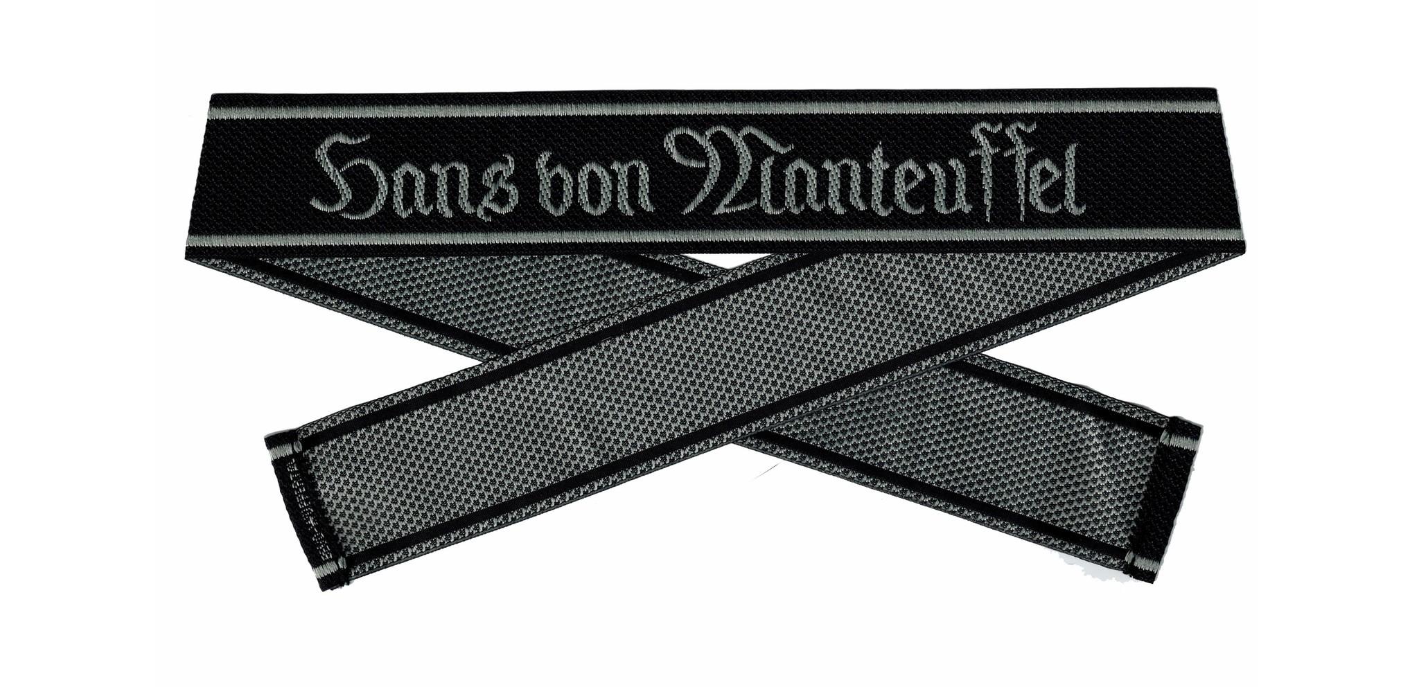 WWII Elite Ärmelband ''Hans von Manteuffel'' gewebt WH Cuff title