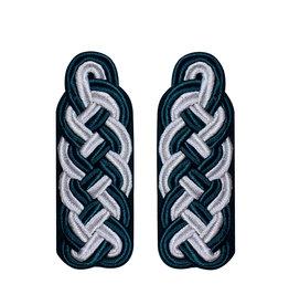 Schultergeflechte - Majorsgeflecht silber/grün (Flachschnur)