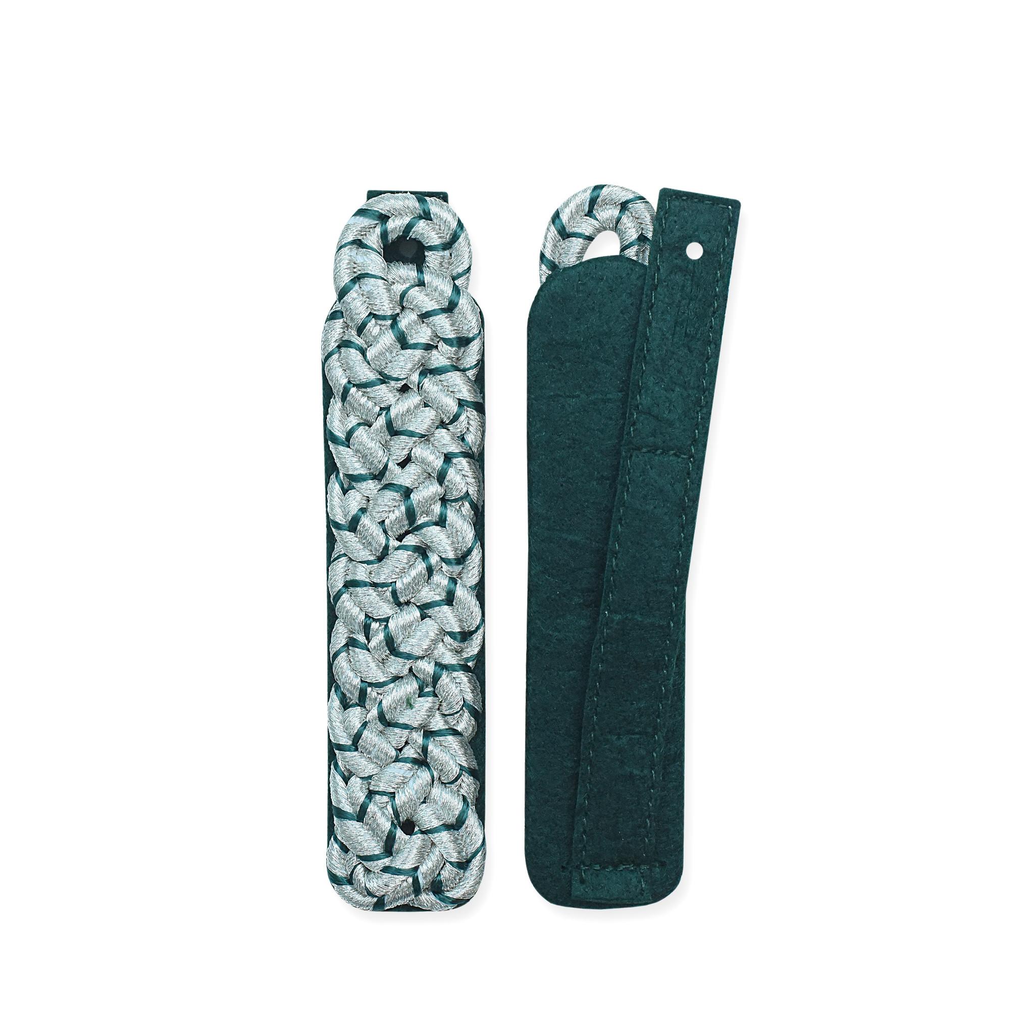 Schultergeflecht, 8-bogig, silber oder gold mit grün National