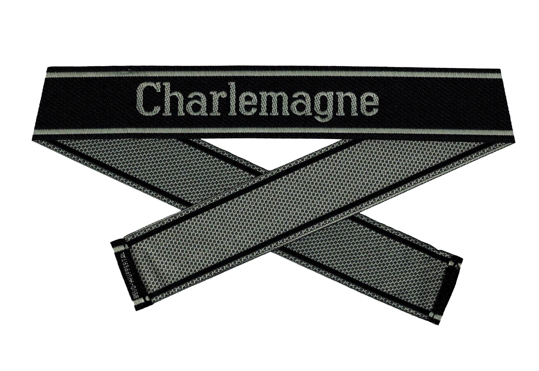 WWII Elite Ärmelband ''Charlemagne'' gewebt WH Cuff title BEVO