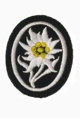 WWII maschinengesticktes Edelweiß Abzeichen Mannschaft