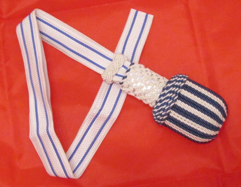 Weiß/blau Portepee mit blau Gestreifer weiß Tresse