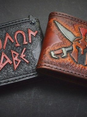 "Harp Leather Leder-Geldbeutel ""Molon Labe"""